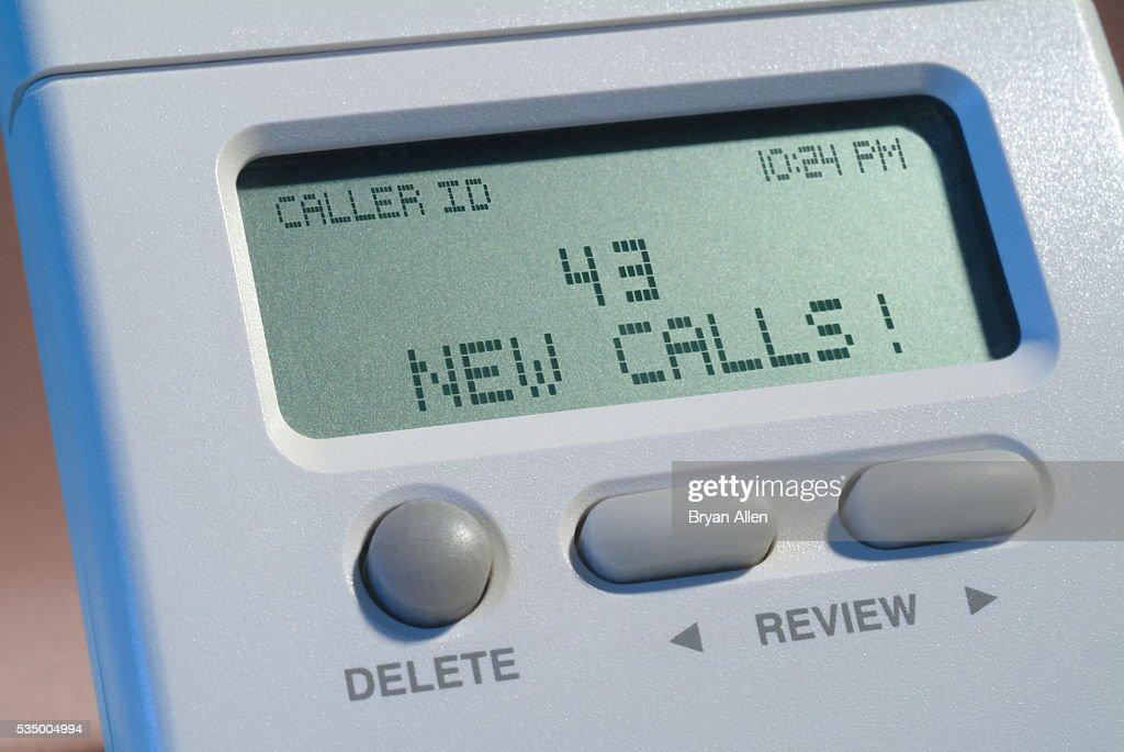 Caller ID Displaying 43 New Calls : Stock Photo