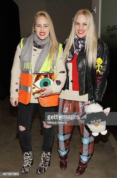 Calli Beckerman and Sam Beckerman pose backstage at the Costello Tagliapietra fashion show during MADE Fashion Week Fall 2014 at Milk Studios on...