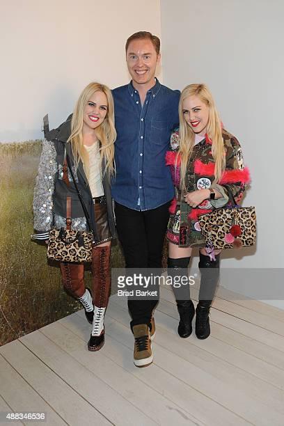 Calli Beckerman Stuart Vevers and Sam Beckerman pose backstage the Coach Women's Spring 2016 fashion show during New York Fashion Week on September...