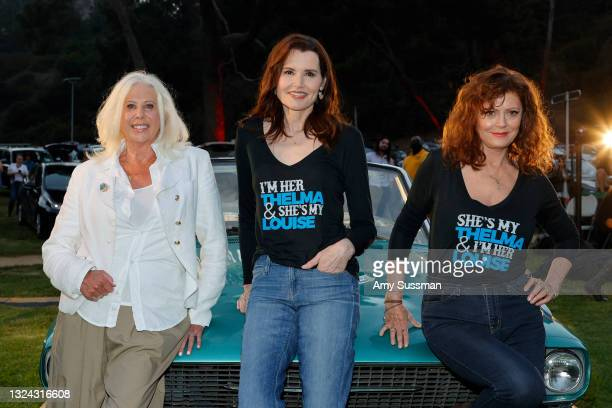 """Callie Khouri, Geena Davis, and Susan Sarandon attend """"Thelma And Louise"""" 30th Anniversary drive-in charity screening experience hosted by MGM and..."""
