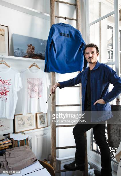 Calligrapher Nicolas Ouchenir is photographed for Madame Figaro on October 11 2018 in Paris France PUBLISHED IMAGE CREDIT MUST READ Louis...