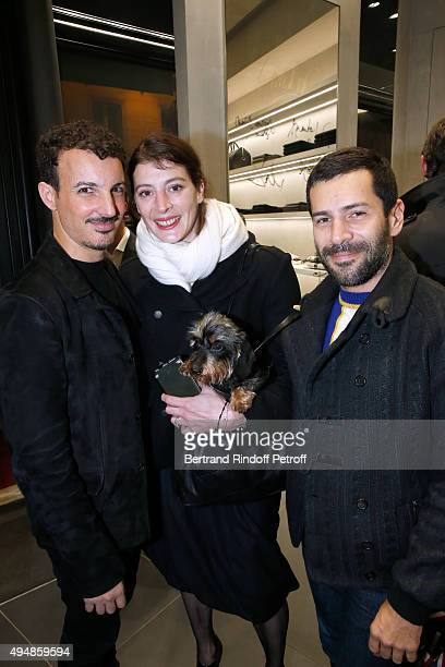Calligrapher Nicolas Ouchenir, Star Dancer Marie-Agnes Gillot and Fashion Designer Alexis Mabille attend the Opening of the Collection 'Exemplaire x...