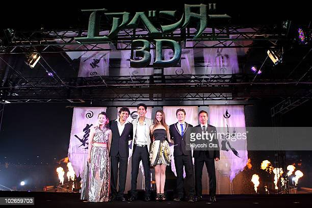 Calligraphy artist Shishu director M Night Shyamalan actor Dev Patel actress Nicola Peltz actor Jackson Rathbone and soccer player Yuto Nagatomo pose...