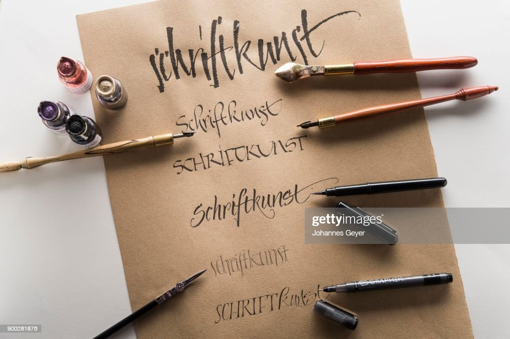 Calligraphy studio brown ingres paper pen and nibs with respective