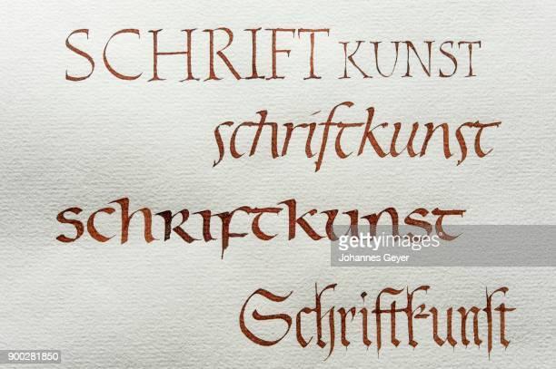 Calligraphy, studio, fonts, Roman capital font, Roman italics, insular minuscule font, Gothic script on Ingres paper, Seebruck, Upper Bavaria, Germany