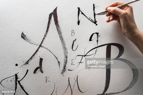 Calligraphy studio, hand writes letter N with cola pen, Satin Watercolor, sheet with different letters, Seebruck, Upper Bavaria, Germany