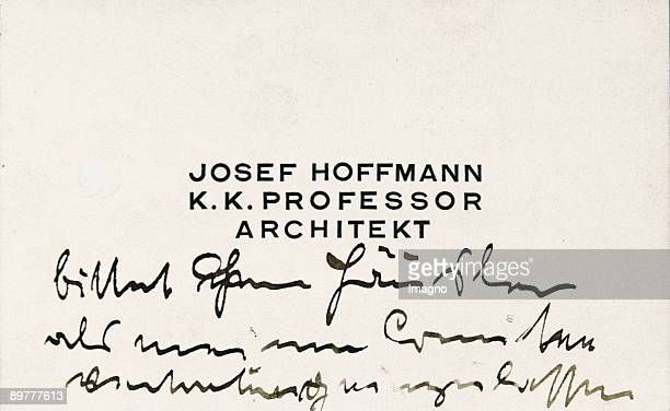 Calling card by Josef Hoffmann k k Professor / architect Autographic text Steel engraving Around 1915