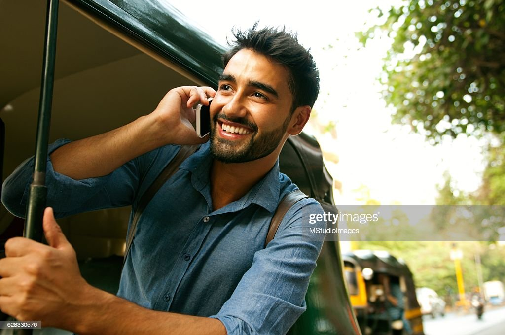 Calling from rickshaw. : Stock-Foto