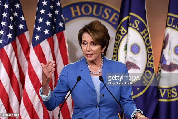 Calling House Republican leadership 'aimless and chaotic' Minority Leader Nancy Pelosi answers reporters' questions during her weekly press...