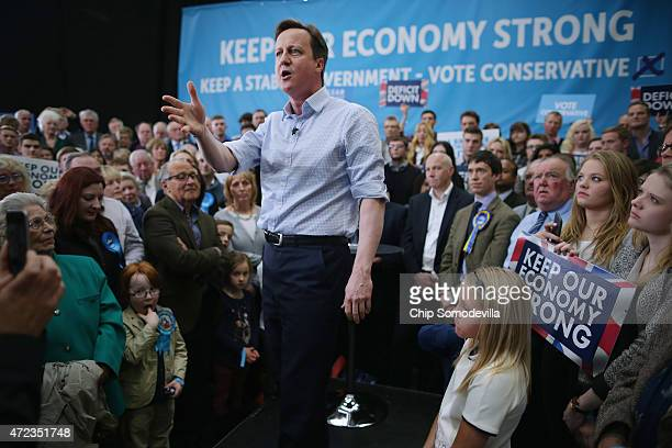 Calling this an election that will define a generation Prime Minister David Cameron addresses his campaign rally for the General Election at the...