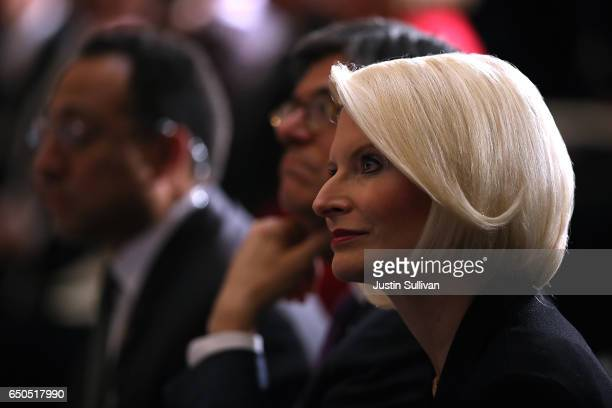 Callista Gingrich looks on during a memorial ceremony to honor the life of former House Minority Leader Rep Bob Michel in Statuary Hall at the US...