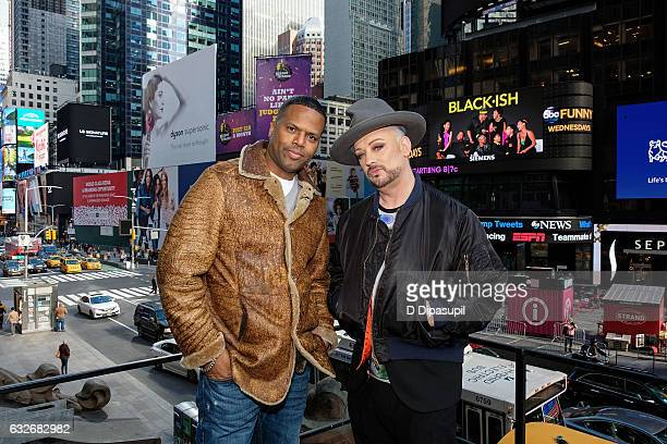 Calloway and Boy George pose on the set of 'Extra' at the Hard Rock Cafe Times Square on January 25 2017 in New York City
