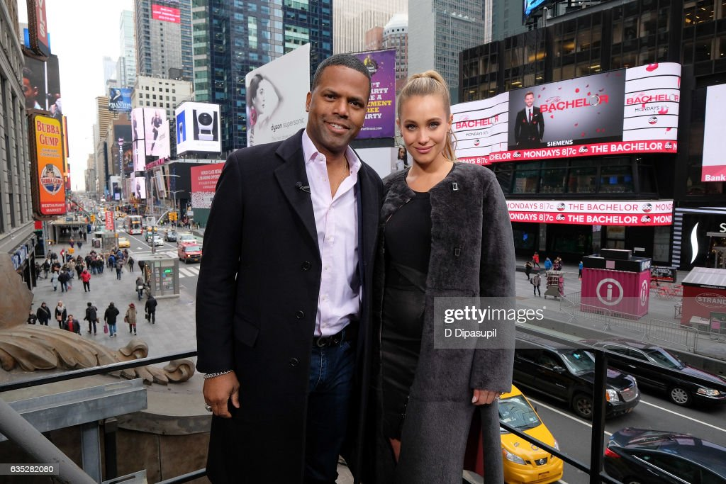 AJ Calloway (L) and Hannah Jeter pose on the set of 'Extra' at their New York studios at the Hard Rock Cafe in Times Square on February 14, 2017 in New York City.