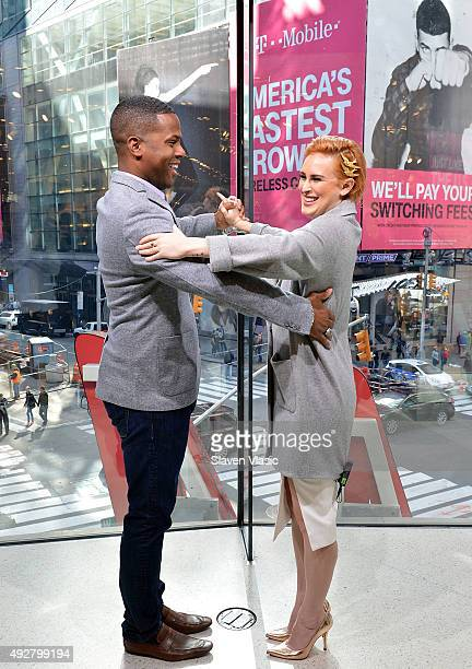 Calloway and Rumer Willis visit 'Extra' at HM Times Square on October 15 2015 in New York City