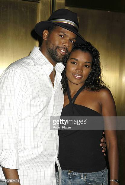 AJ Calloway and wife Lao during Olympus Fashion Week Spring 2006 Baby Phat Fashion Show Arrivals at Radio City Music Hall in New York City New York...