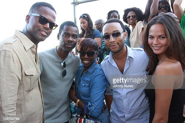 AJ Calloway Chris Rock Estelle John Legend and Christine Teigen attend the 7th Annual Rock The Bells festival on Governors Island on August 28 2010...