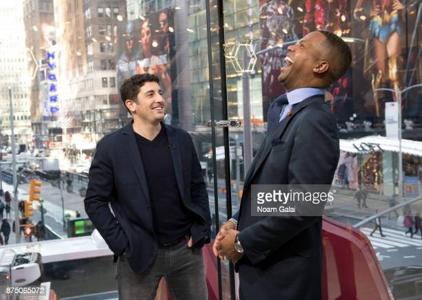 Calloway interviews actor Jason Biggs during his visit to 'Extra' at their New York studios at HM Times Square on November 16 2017 in New York City