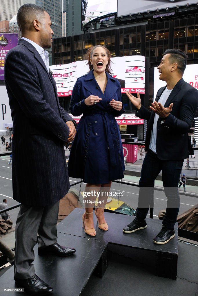 AJ Calloway interviews Ashley Graham and Prabal Gurung during their visit to 'Extra' at their New York studios at the Hard Rock Cafe in Times Square on February 27, 2017 in New York City.