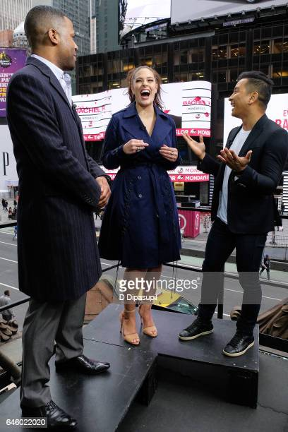 AJ Calloway interviews Ashley Graham and Prabal Gurung during their visit to 'Extra' at their New York studios at the Hard Rock Cafe in Times Square...