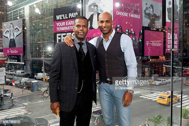 Calloway interviews Boris Kodjoe during his visit to 'Extra' at their New York studios at HM in Times Square on October 7 2014 in New York City