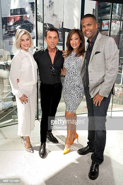 """Calloway interviews Carrie Ann Inaba, Julianne Hough, and Bruno Tonioli during their visit to """"Extra"""" at their New York studios at H&M in Times..."""