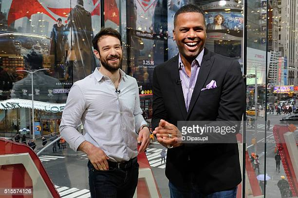 Calloway interviews Charlie Cox during his visit to 'Extra' at their New York studios at HM in Times Square on March 14 2016 in New York City