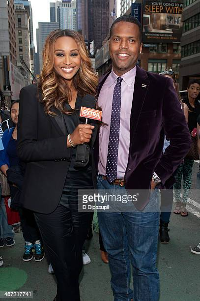 Calloway interviews Cynthia Bailey during her visit to 'Extra' in Times Square on April 28 2014 in New York City