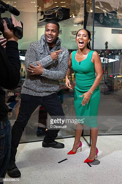 """Calloway interviews Jada Pinkett Smith during her visit to """"Extra"""" at their New York studios at H&M in Times Square on March 5, 2015 in New York City."""
