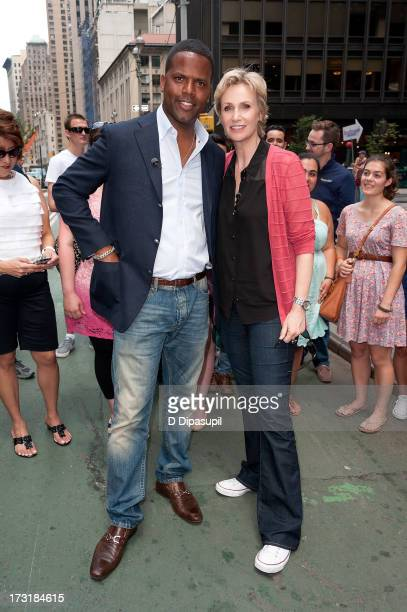 Calloway interviews Jane Lynch during her visit to 'Extra' in Times Square on July 9 2013 in New York City
