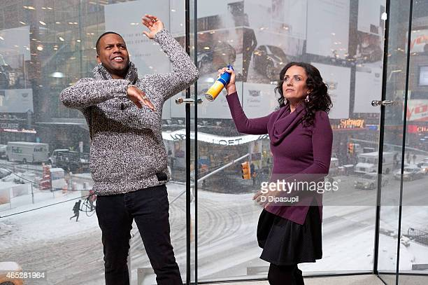 Calloway interviews Jenni Pulos during her visit to Extra at their New York studios at HM in Times Square on March 5 2015 in New York City