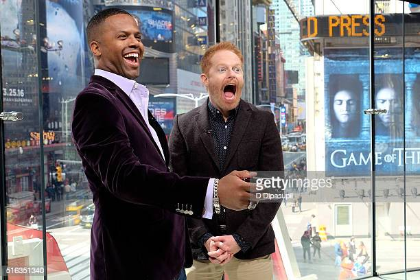 """Calloway interviews Jesse Tyler Ferguson during his visit to """"Extra"""" at their New York studios at H&M in Times Square on March 18, 2016 in New York..."""