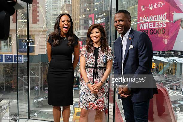 AJ Calloway interviews Julie Chen and Aisha Tyler during their visit to 'Extra' at their New York studios at HM in Times Square on September 6 2016...