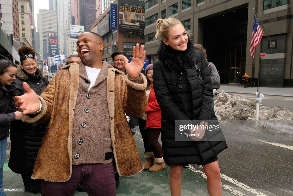 AJ Calloway (L) interviews Kate Upton during her visit to 'Extra' in Times Square on February 15, 2017 in New York City.