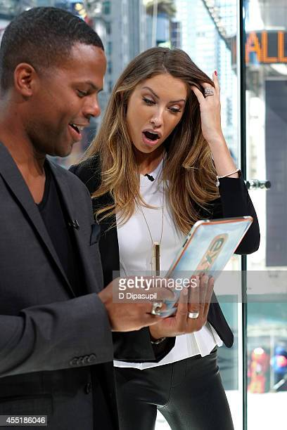 Calloway interviews Katherine Webb during her visit to Extra at their New York studios at HM in Times Square on September 10 2014 in New York City