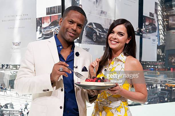 Calloway interviews Katie Lee during her visit to Extra at their New York studios at HM in Times Square on April 15 2015 in New York City