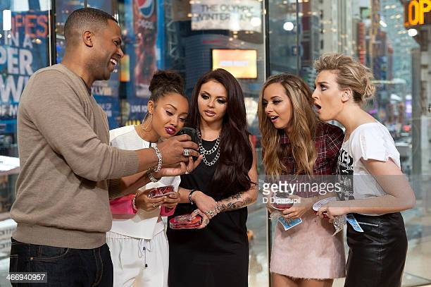 "Calloway interviews Leigh-Anne Pinnock, Jesy Nelson, Jade Thirlwall, and Perrie Edwards of Little Mix during their visit to ""Extra"" at their H&M..."