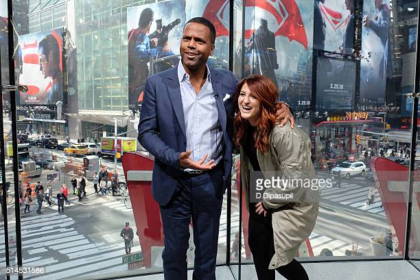 "Calloway interviews Meghan Trainor during her visit to ""Extra"" at their New York studios at H&M in Times Square on March 9, 2016 in New York City."