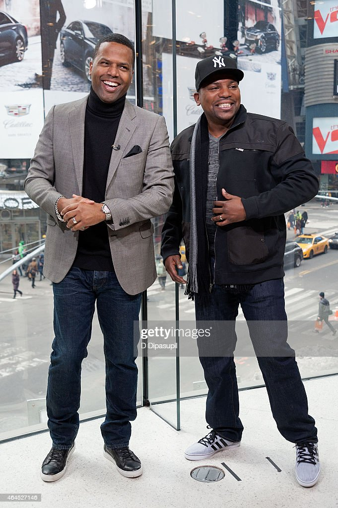 AJ Calloway (L) interviews Mekhi Phifer during his visit to 'Extra' at their New York studios at H&M in Times Square on February 26, 2015 in New York City.