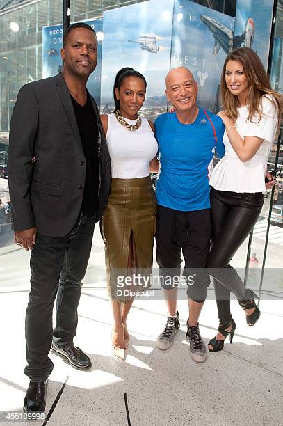 AJ Calloway interviews Mel B Howie Mandel and Katherine Webb during their visit to Extra at their New York studios at HM in Times Square on September...