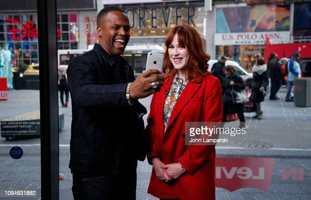 A J Calloway interviews Molly Ringwald at 'Extra' at The Levi's Store Times Square on January 15 2019 in New York City