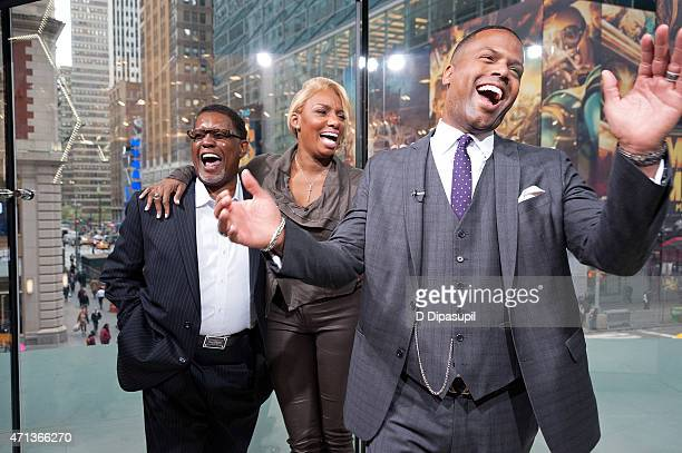 "Calloway interviews NeNe Leakes and husband Gregg Leakes during their visit to ""Extra"" at their New York studios at H&M in Times Square on April 27,..."