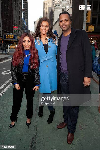 Calloway interviews Nicole 'Snooki' Polizzi and Jenni 'JWoww' Farley during their visit to 'Extra' in Times Square on January 13 2014 in New York City