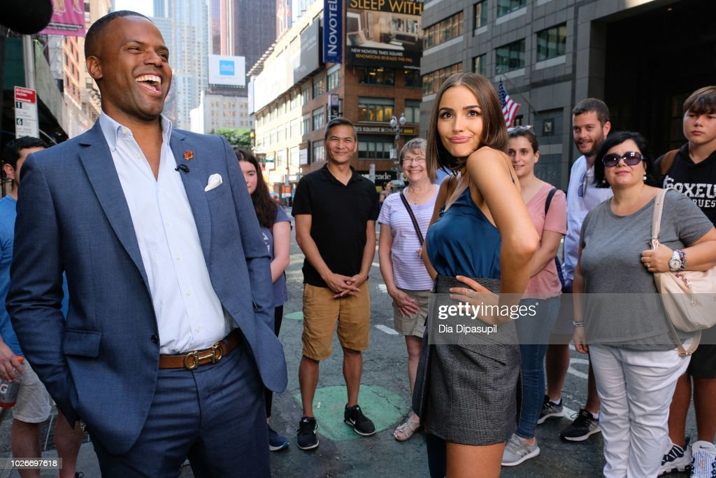 AJ Calloway (L) interviews Olivia Culpo during her visit to 'Extra' on September 4, 2018 in New York City.