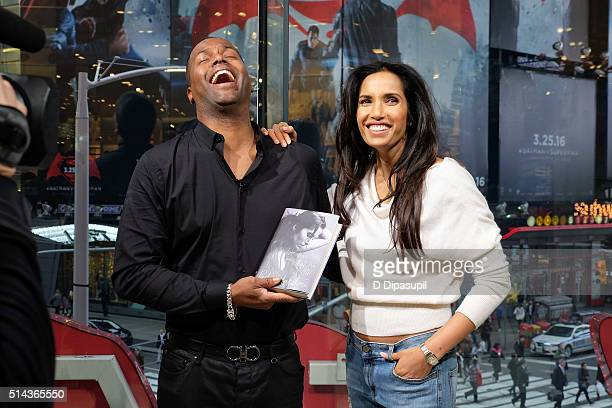 "Calloway interviews Padma Lakshmi during her visit to ""Extra"" at their New York studios at H&M in Times Square on March 8, 2016 in New York City."