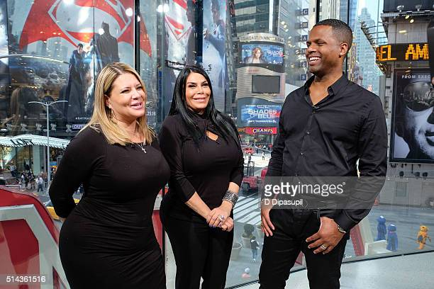 AJ Calloway interviews Renee Graziano and Karen Gravano of Mob Wives during their visit to Extra at their New York studios at HM in Times Square on...