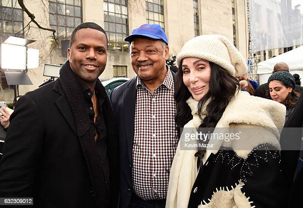 AJ Calloway Jesse Jackson and Cher attend the rally at the Women's March on Washington on January 21 2017 in Washington DC