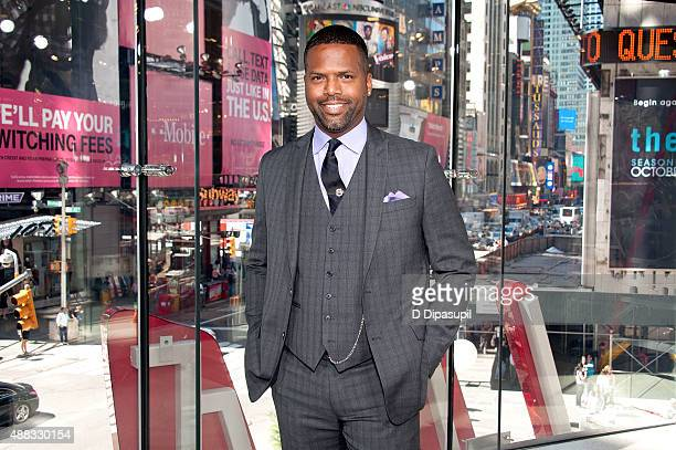 "Calloway poses on the set of ""Extra"" at their New York studios at H&M in Times Square on September 15, 2015 in New York City."
