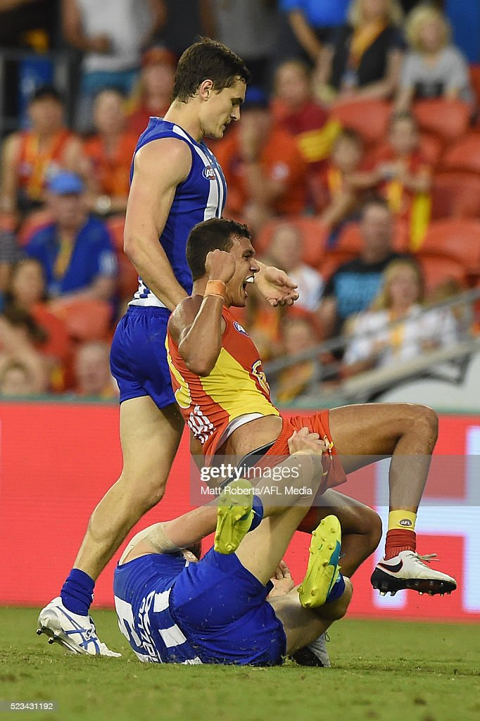 Callum Ah Chee of the Suns celebrates kicking a goal during the round five AFL match between the Gold Coast Suns and the North Melbourne Kangaroos at Metricon Stadium on April 23, 2016 in Gold Coast, Australia.