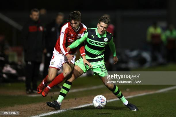 Callum Ainley of Crewe Alexandra and Charlie Cooper of Forest Green Rovers during the Sky Bet League Two match between Crewe Alexandra and Forest...