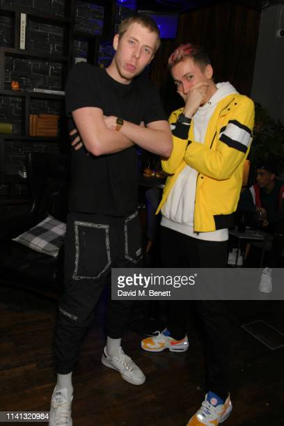 Callum Airey aka Calfreezy and Simon Minter aka Miniminter attends the launch of KSI's new album 'New Age' at Century Club on April 08 2019 in London...